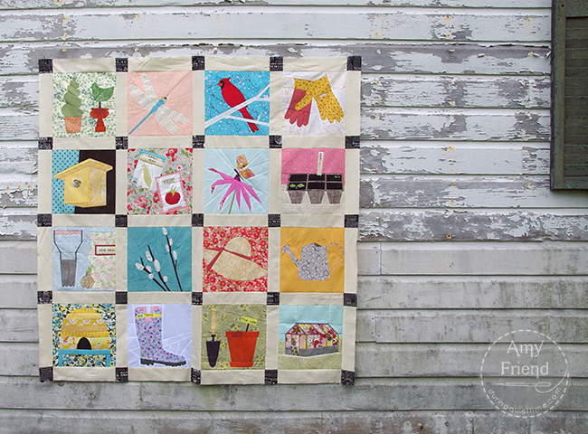 paper pieced garden quilt top