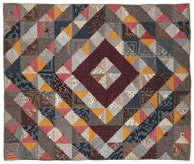Off Center Log Cabin Barn Raising Quilt 1890 Foundation pieced printed plain weave cotton top, printed plain 