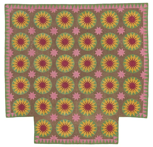 Sunburst Quilt Mrs. Ephraim Scott (American) 1856 Pieced printed cotton plain weave top, printed cotton plain weave 
