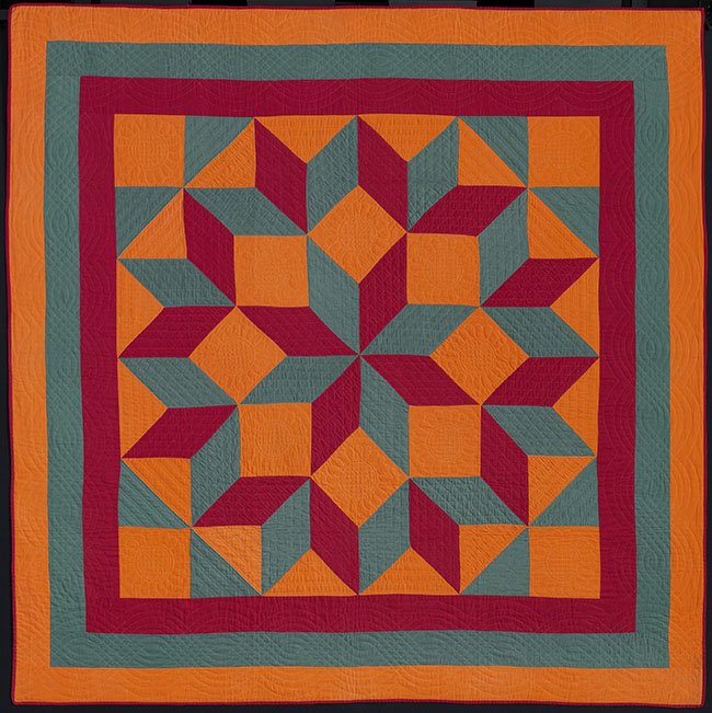 Carpenter's Square QuiltMade by: Mrs. Miller (American) American, Pennsylvania, Easton, Mennonite, about 1890Pieced cotton plain weave top, cotton plain weave back and binding; quilted *Pilgrim / Roy Collection*Courtesy, Museum of Fine Arts, Boston