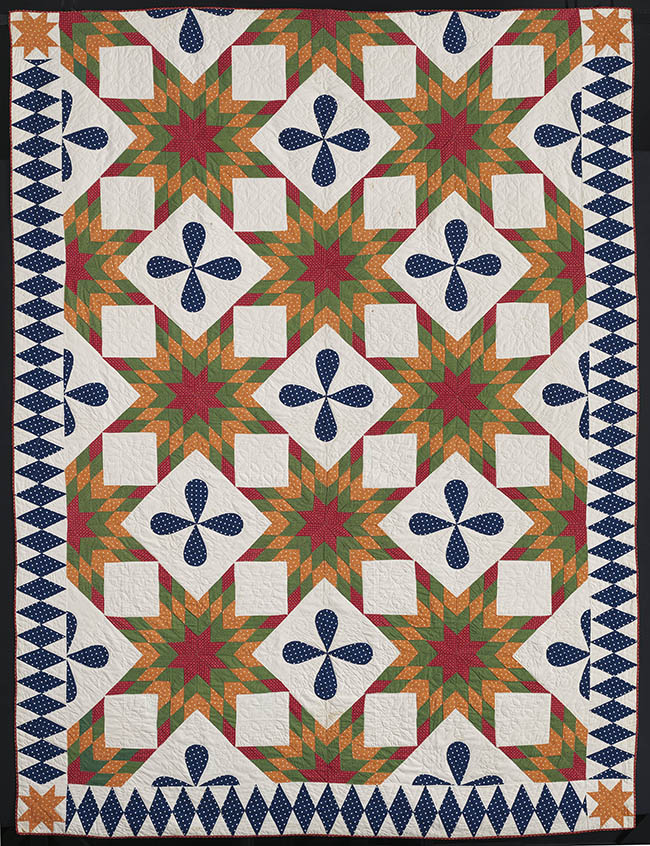 Touching Sunbursts Quilt American, Massachusetts, 1854Pieced printed cotton plain weave top, cotton plain weave backing and binding; quilted *Pilgrim / Roy Collection*Courtesy, Museum of Fine Arts, Boston