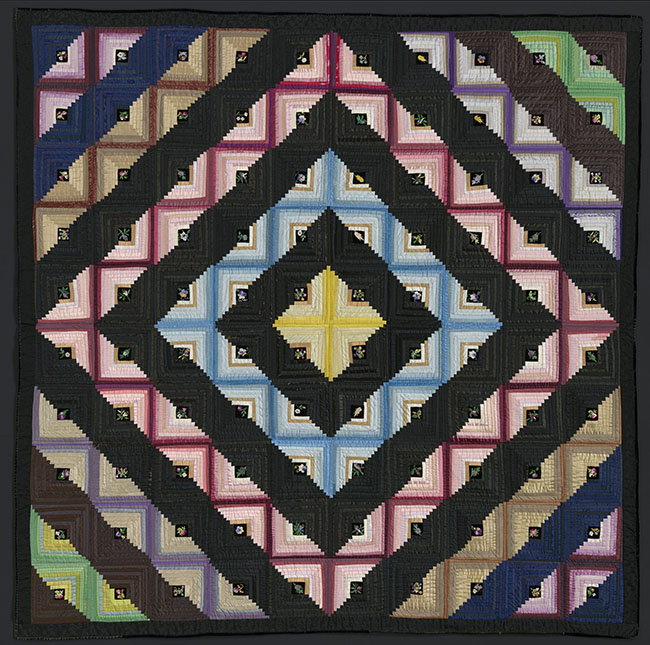 Log Cabin, Barn Raising Variation QuiltMrs. Herrick American, Massachusetts, 1879Foundation pieced top of cotton and silk in variety of structures including silk velet with silk embroidery, silk plain weave  backing quiltied to unknown material*Pilgrim / Roy Collection *Courtesy, Museum of Fine Arts, Boston