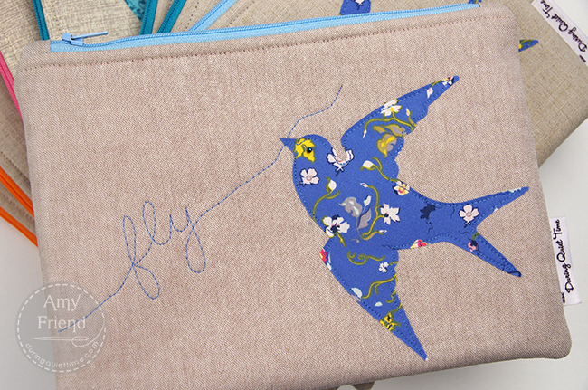 """Fly"" Zip Bag by Amy Friend"