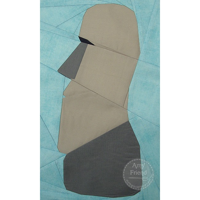 Easter Island Moai Paper Pieced Pattern by Amy Friend