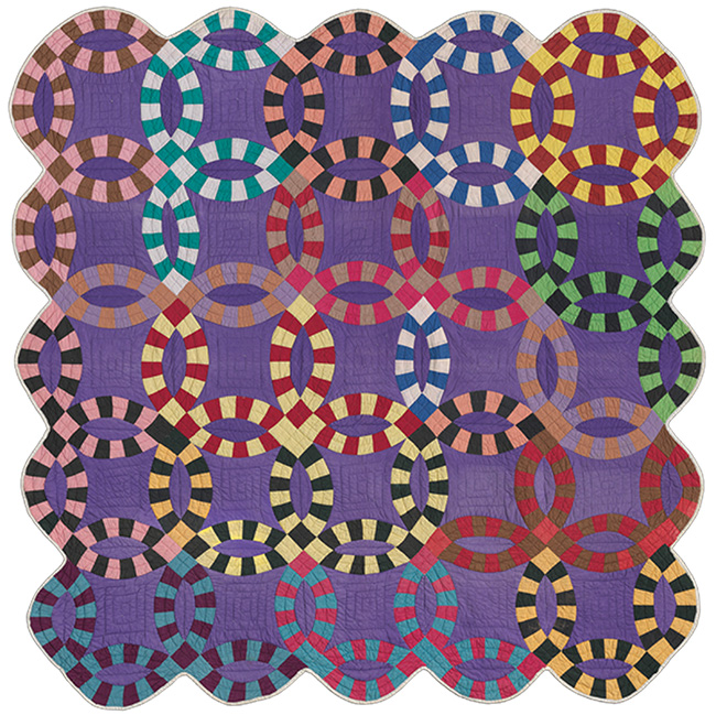 Double Wedding Ring Quilt African American, Missouri, about 1940 Pieced cotton plain weave top, cotton plain weave back and binding; quilted Height x width: 208.3 x 210.8 cm (82 x 83 in.) *Pilgrim/Roy Collection *Courtesy, Museum of Fine Arts, Boston