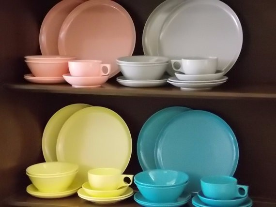 spaulding dinner ware set mid century melamine pace setting